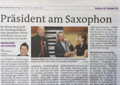 Bezirksrundschau Perg OÖ, Bundespräsident Fischer am Saxofon mit Liveband Voices And Music, Kepler Uni Linz, Christian Fürst, Barbara Burghart