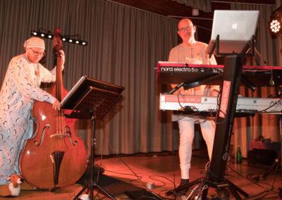 kontrabass, keyboardspieler, Bühne